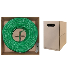 WholesaleCables.com 10X6-051TH 1000ft Bulk Cat5e Green Ethernet Cable Solid UTP (Unshielded Twisted Pair) Pullbox