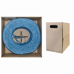 WholesaleCables.com 10X6-061TH 1000ft Bulk Cat5e Blue Ethernet Cable Solid UTP (Unshielded Twisted Pair) Pullbox