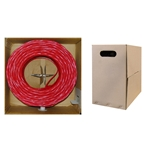 WholesaleCables.com 10X6-071TH 1000ft Bulk Cat5e Red Ethernet Cable Solid UTP (Unshielded Twisted Pair) Pullbox