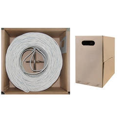 WholesaleCables.com 10X6-091TH 1000ft Bulk Cat5e White Ethernet Cable Solid UTP (Unshielded Twisted Pair) Pullbox