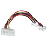 11W3-02210 8inch 4 Pin Molex to Floppy Power Y Cable 5.25 inch Male to Dual 3.5 inch Female