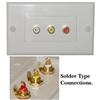 200-260WH Wall Plate White 3 Gold Plated RCA Female to Solder Type (Red White and Yellow)