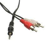 WholesaleCables.com 2RCA-STE-1 1ft 3.5mm Stereo to RCA Audio Cable 3.5mm Stereo Male to Dual RCA Male (Right and Left)