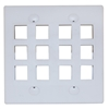 301-12K-W Keystone Wall Plate White 12 Hole Dual Gang