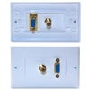 WholesaleCables.com 301-29100 Wall Plate White VGA and 3.5mm Stereo Jack HD15 Female and 3.5mm Female