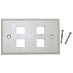 WholesaleCables.com 301-4K Keystone Wall Plate Beige 4 Hole Single Gang