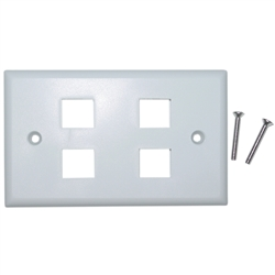 WholesaleCables.com 301-4K-W Keystone Wall Plate White 4 Hole Single Gang