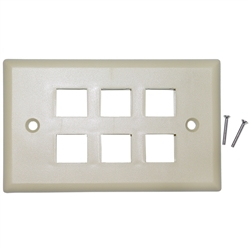 WholesaleCables.com 301-6K Keystone Wall Plate Beige 6 Hole Single Gang