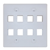 WholesaleCables.com 301-8K-W Keystone Wall Plate White 8 Hole Dual Gang