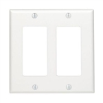WholesaleCables.com 302-2-W Decora Wall Plate White 2 Hole Dual Gang