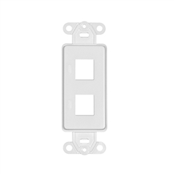 WholesaleCables.com 302-2D-W Decora Wall Plate Insert White 2 Hole for Keystone Jack