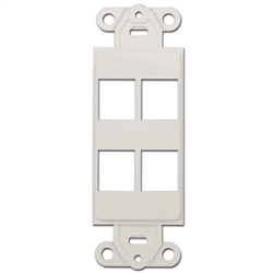 WholesaleCables.com 302-4D-W Decora Wall Plate Insert White 4 Keystone Jack