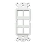 WholesaleCables.com 302-6D-W Decora Wall Plate Insert White 6 Hole for Keystone Jack