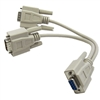 WholesaleCables.com 30D1-27308  8inch DB9 Serial Y adapter DB9 Female to Dual DB9 Male