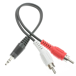 WholesaleCables.com 30S1-01160 6inch 3.5mm Stereo to Dual RCA Audio Adapter Cable 3.5mm Male to Dual RCA Male (Red/White)
