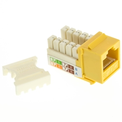 WholesaleCables.com 310-120YL Cat5e Keystone Jack Yellow RJ45 Female to 110 Punch Down
