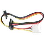 WholesaleCables.com 31SA-005P 14inch Molex to Dual SATA Power Cable 4 Pin Molex Male to Dual Serial ATA Female