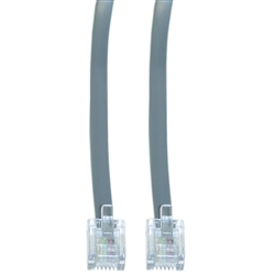 WholesaleCables.com 8101-64102 2ft Telephone Cord (Data) RJ11 6P / 4C Silver Satin Straight