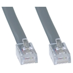WholesaleCables.com 8103-88125 25ft Telephone Cord (Data) RJ45 Silver Satin Straight