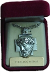 Sacred Head of the Crucified Jesus on a Sterling Silver Cross Pendent