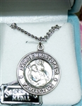 Dual Sided St. Christopher and St. Raphael Sterling Silver Medal