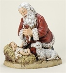 Kneeling Santa with Lamb Statue - 13 Inches