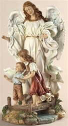 Classical Guardian Angel Figurine - 10 Inch