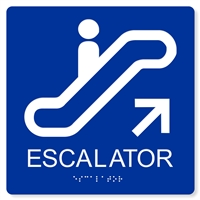 ADA Escalator Up Sign - 8X8""