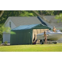 ShelterLogic 13' Wide x 28' Length x 10' Height Peak Style Shelter Green Shed / Model 90244