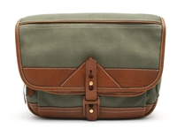 Brand New Fogg b-laika Ivy Green Fabric with Havana Leather Trim Compact Satchel 18973