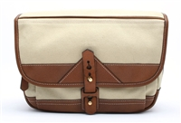 Brand New Fogg b-laika Stone Fabric with Havana Leather Trim Compact Satchel 22804