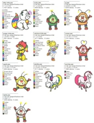 RAINBOW BRITE EMBROIDERY DESIGNS - PACK OF 10