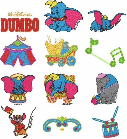 Dumbo Cartoon Animated Television Series Embroidery Designs