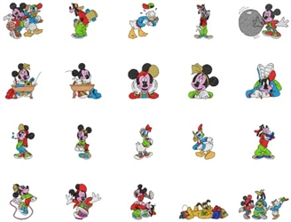 MICKEY & DISNEY PALS  EMBROIDERY MACHINE DESIGNS - VERY CUTE PACK - TAKE A LOOK