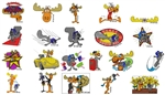 ROCKY & BULLWINKLE EMBROIDERY MACHINE DESIGNS - PACK OF 22 - 4X4 COLLECTION