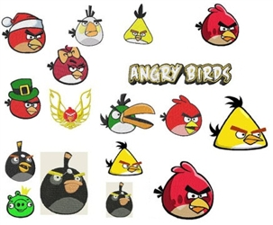 ANGRY BIRDS Fun Embroidery Designs Collection LOOOK SET OF 16