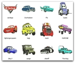 CARS PIXAR EMBROIDERY MACHINE DESIGNS 4X4  - SET OF 12