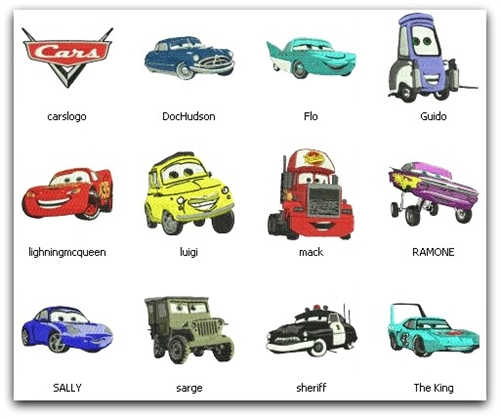 Cars Pixar Embroidery Machine Designs 4x4 Set Of 12