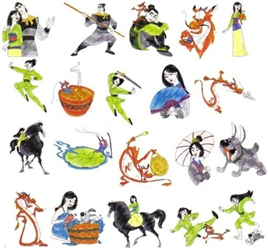 MULAN CHARACTER EMBROIDERY DESIGNS - PACK OF 22