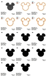 Mickey Mouse Head ears Applique Filled Embroidery Designs Many Sizes
