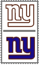 NEW YORK NY GIANTS NFL SPORTS APPLIQUE & FILLED EMBROIDERY MACHINE LOGO DESIGN