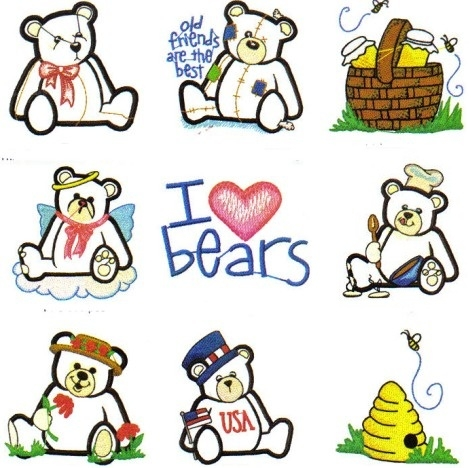 Teddy Bear Hand Embroidery Designs