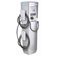 This is a photo of a 30 amp GE Durastation EVDDR3GEXXGB Dual Networked Car Charging Station