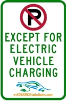 "This is a photo of a 12"" x 18"" Stainless Steel (.7mm) Reflective EV Parking Sign"