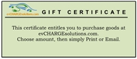 This is a photo of a evchargesolutions gift certificate