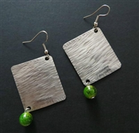 Silver Square and Green Bead Earrings