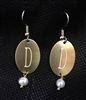Monongrammed Brass Pearl Earrings