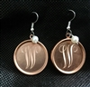 Monongrammed Copper Pearl Earrings