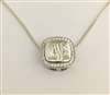 Sterling Silver Square Cubic Zirconia Monogram Necklace