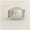 Sterling Silver Cubic Zirconia  Square Monogram Ring